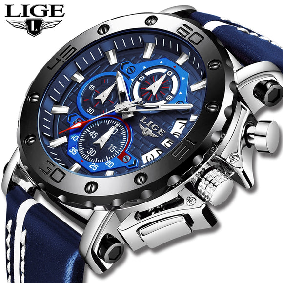 2020 LIGE New Mens Watches Top Brand Luxury Big Dial Military Quartz Watch Leather Waterproof Sport Wristwatch Relogio Masculino