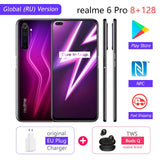 realme 6 Pro 6pro 8GB RAM 128GB ROM Global Version Mobile Phone Snapdragon 720G 30W Flash Charge 64MP Camera EU Plug NFCellphone