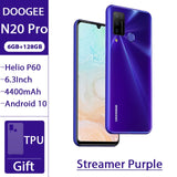 "DOOGEE N20 Pro Quad Camera Mobile Phones Helio P60 Octa Core 6GB RAM 128GB ROM Global Version 6.3"" FHD+ Android 10 OS Smartphone"