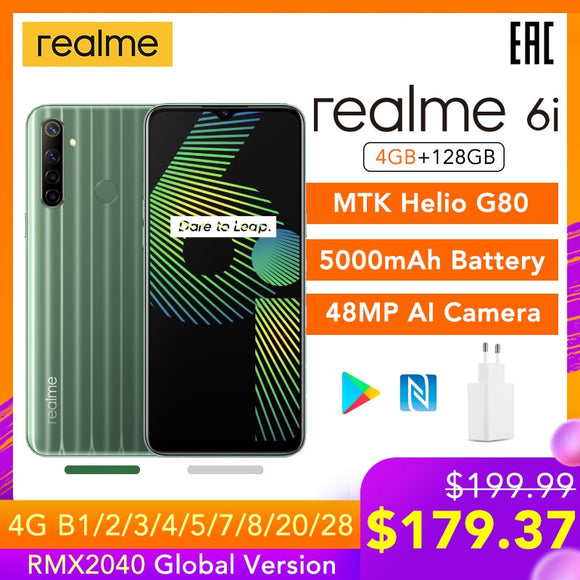 realme 6i 4GB RAM 128GB ROM Mobile Phone Global Version 5000mAh Battery 6.5