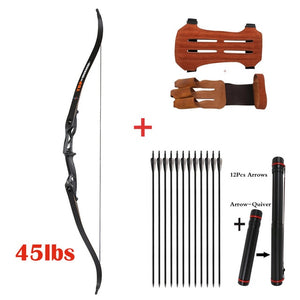 "Archery 56"" Takedown Hunting Recurve Bow Metal Riser Right Hand Black Longbow with carbon arrow and arrow quiver finger/armguard"