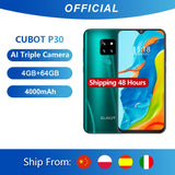 "Cubot P30 Smartphone 6.3"" Waterdrop Screen 2340x1080p 4GB+64GB Android 9.0 Pie Helio P23 AI Rear Triple Cameras Face ID 4000mAh"