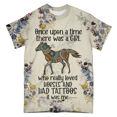 A Girl Love Horse And Had Tattoos EZ06 0704 All Over T-Shirt