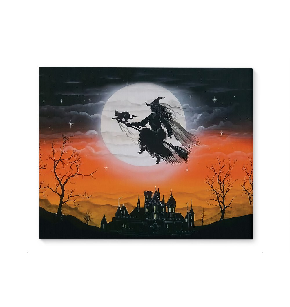 A Witch With Little Black Cat Halloween Moonlight EZ12 2509 Canvas