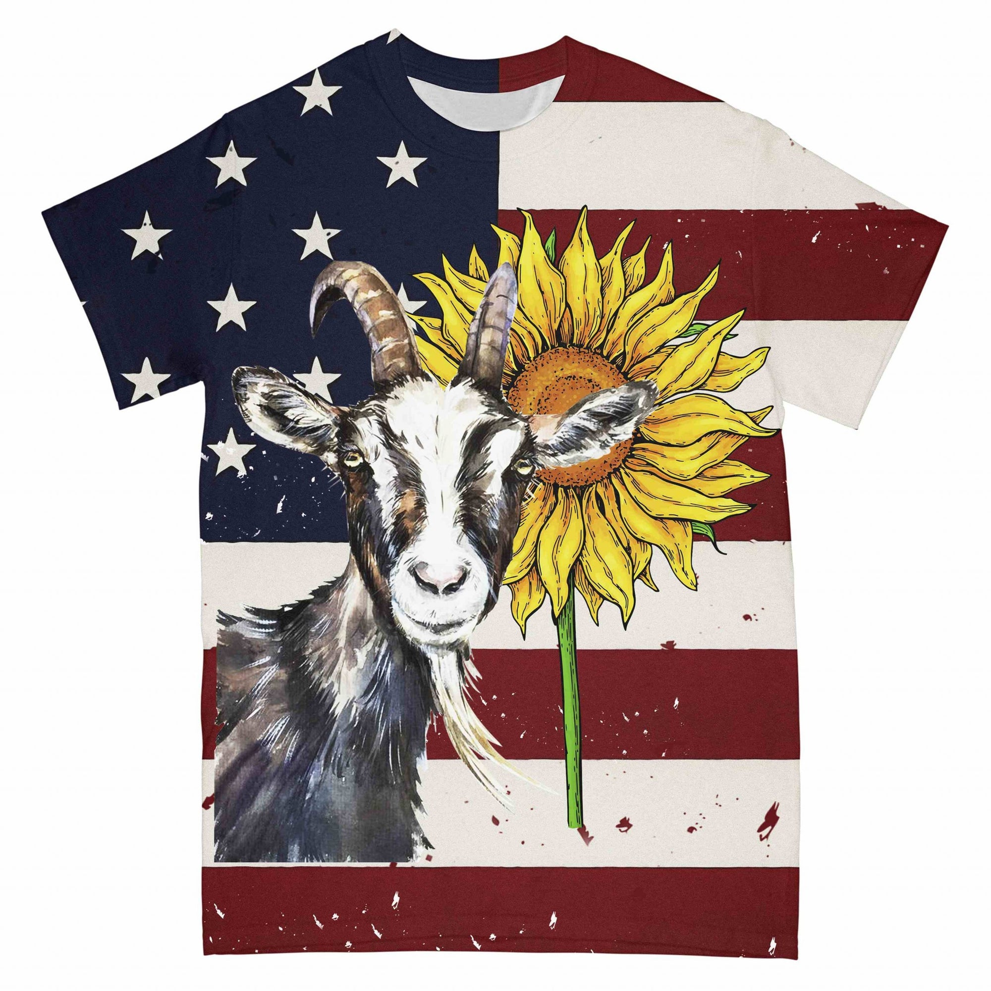 American Flag Goat Sunflower EZ03 2303 All Over T-shirt