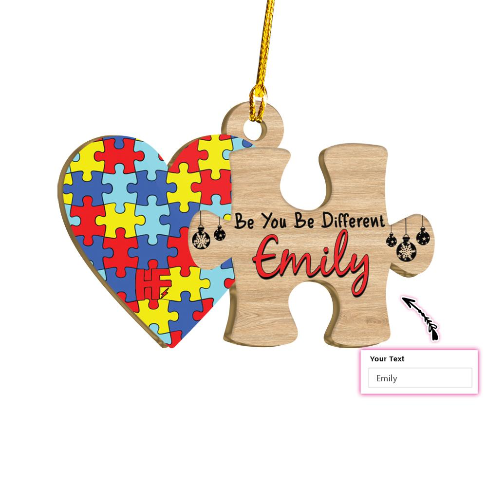 Autism Awareness Colorful Puzzle Personalized Name EZ25 2111 Custom Ornament