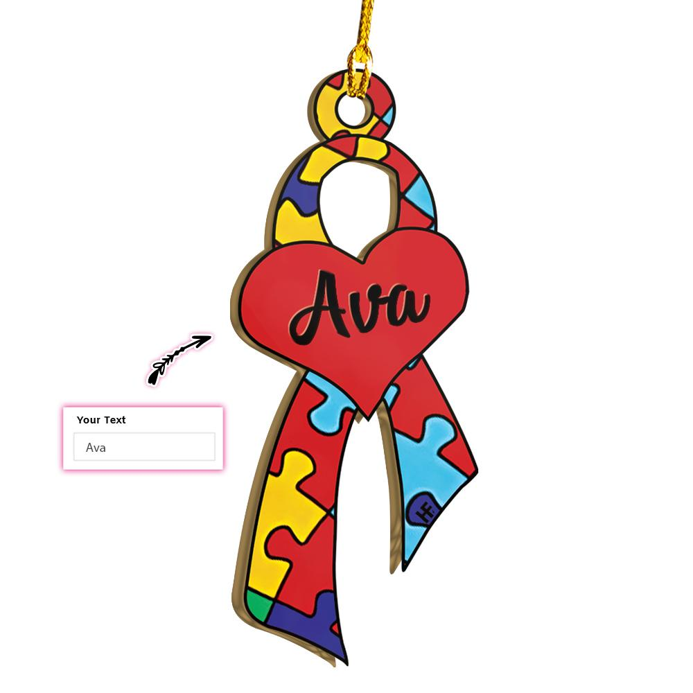 Autism Awareness Ribbon Love EZ25 2611 Custom Ornament