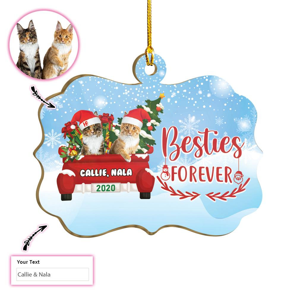 Besties Forever Personalized Two Cats EZ25 1711 Custom Ornament