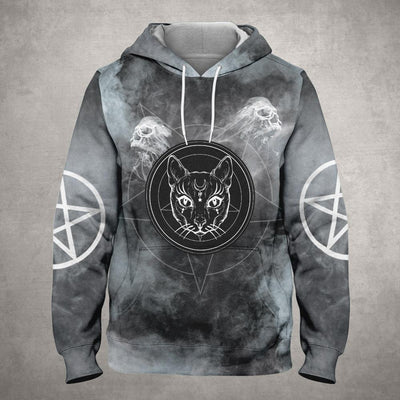 Black Cat With Skull Smoke EZ19 1310 All Over Print Hoodie
