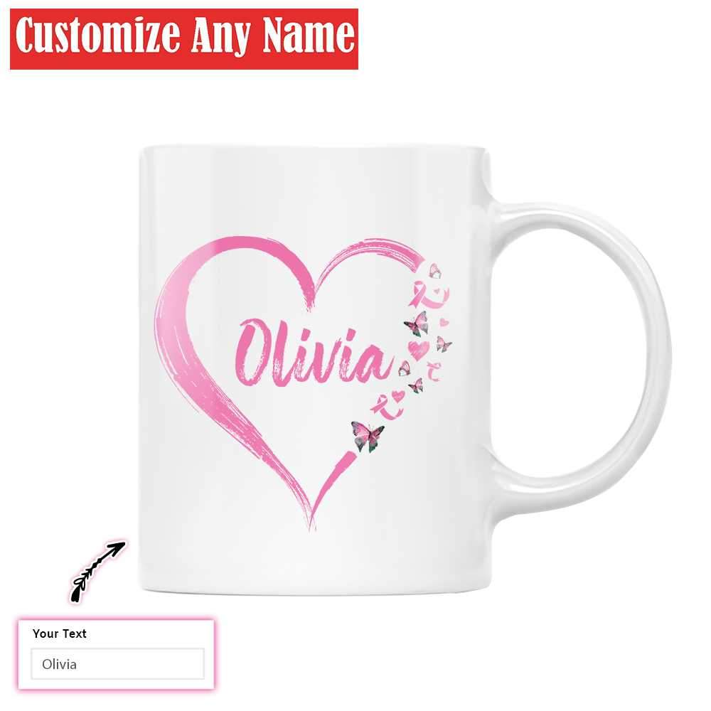Breast Cancer Awareness Peace Love Cure Customize Name EZ16 1412 Custom White Mug