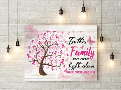 Breast Cancer Awareness Ribbon Tree Family No One Fight Alone B EZ07 2609 Canvas