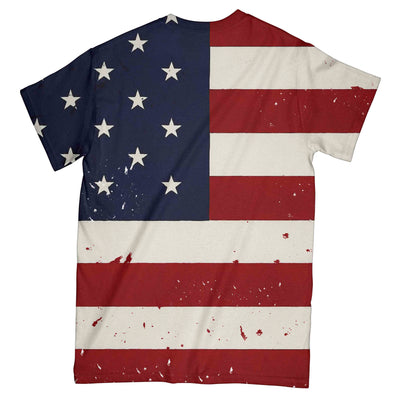 Bunny Playing Guitar American Flag EZ10 0804 All Over T-Shirt