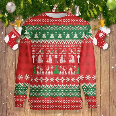 Cat Christmas Present EZ25 0710 All Over Print Sweatshirt