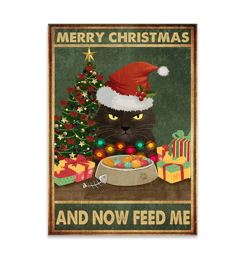 Cat Merry Christmas And Now Feed Me EZ25 0810 Canvas
