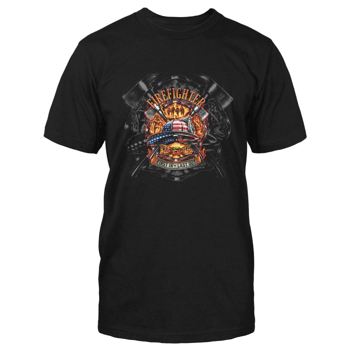 Firefighter American Hat First In Last Out EZ24 0412 Classic T-shirt