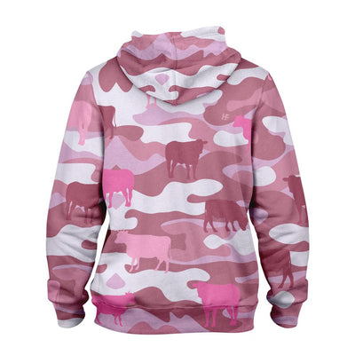 Cow Camouflage Pink Farmer EZ19 0210 All Over Print Hoodie
