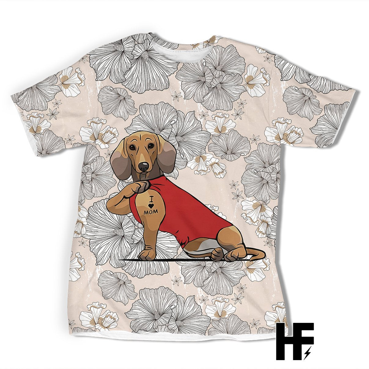 Dachshund Tattoo I Love Mom Floral EZ01 1103 All Over T-shirt