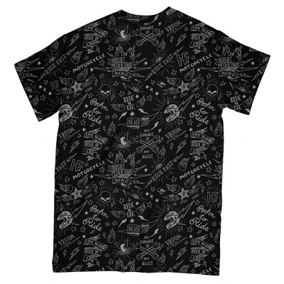 Black Doodle Skull EZ08 1703 All Over T-shirt