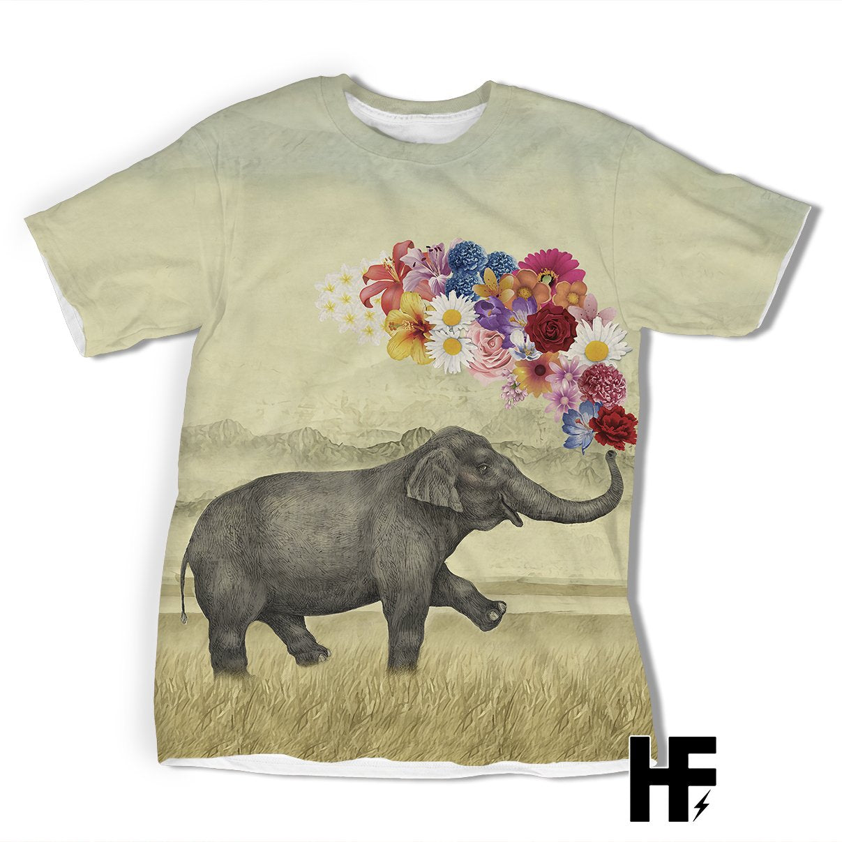 Elephant With Flower EZ03 1203 All Over T-shirt