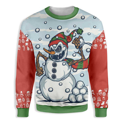 Evil Snowman Throwing Snowball Christmas EZ22 1410 All Over Print Sweatshirt