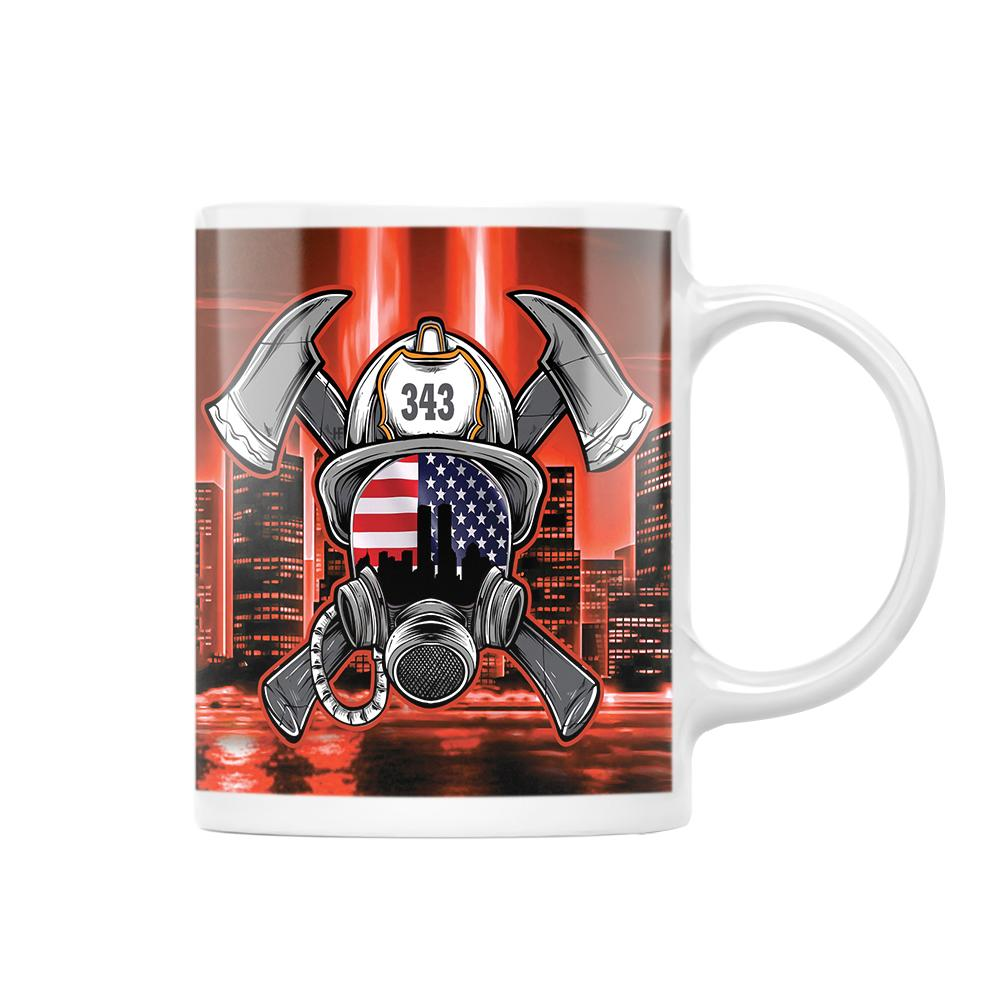 Firefighter 343 American Flag EZ24 1112 White Mug