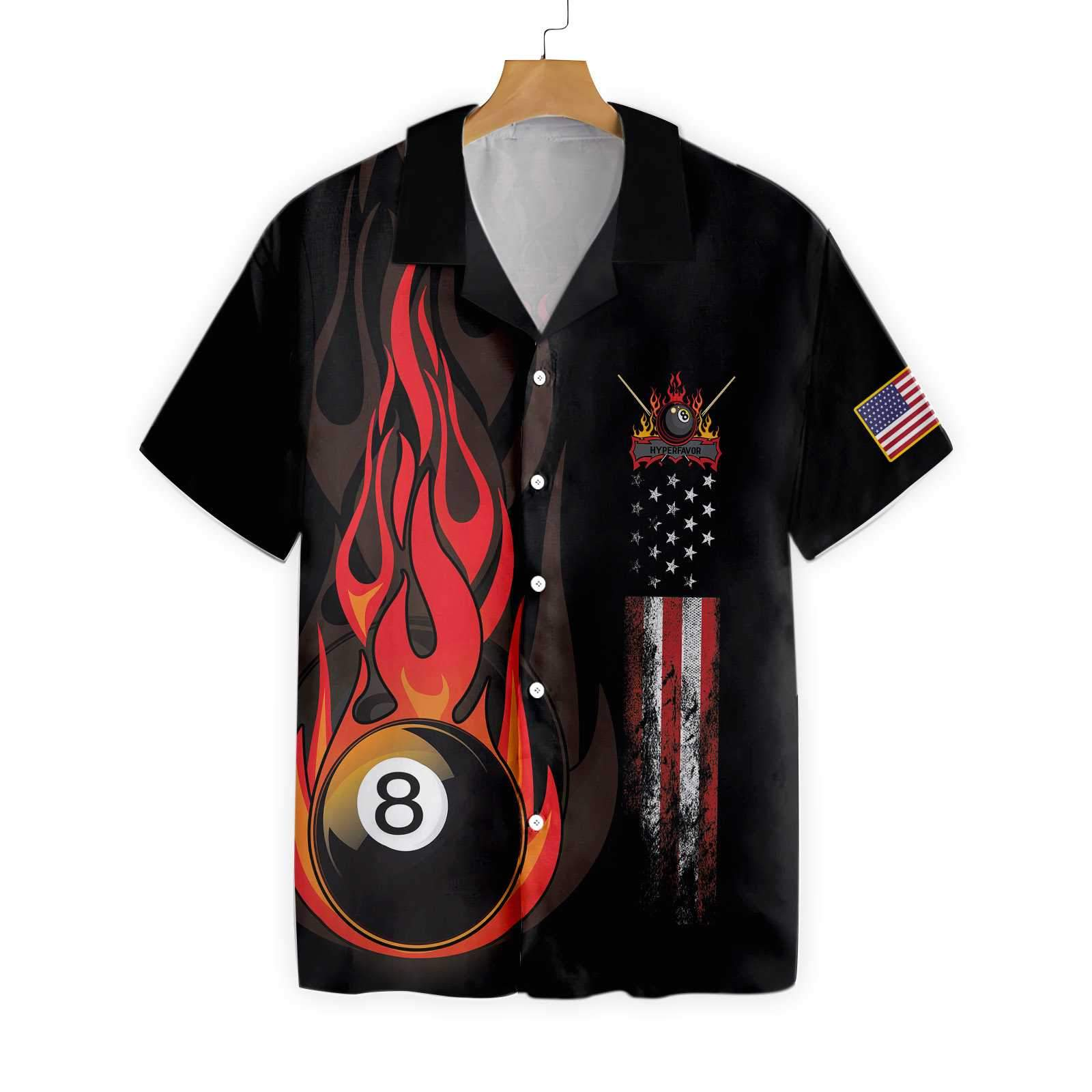 Flame 8 Ball Billiard Pool EZ20 1103 Hawaiian Shirt