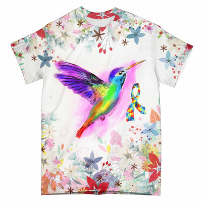 Floral Hummingbird Autism Awareness EZ09 3103 All Over T-Shirt