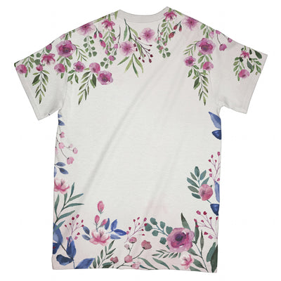 Floral Watercolor Breast Cancer EZ09 2503 All Over T-Shirt