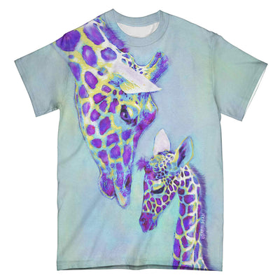 Giraffe Mom And Baby Blue Watercolor 0604 EZ09 All Over T-Shirt