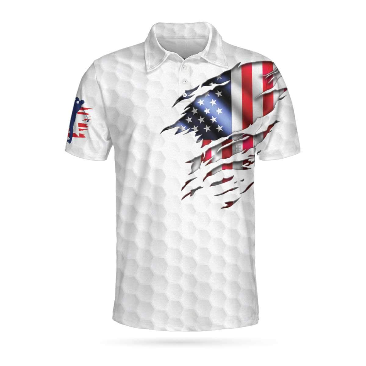 Golf American Flag Polo Shirt