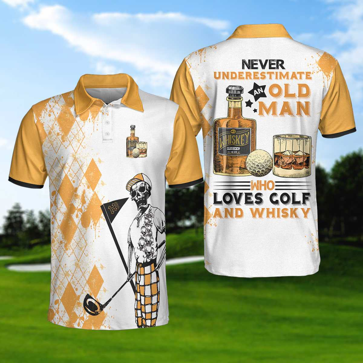 Golf Never Underestimate An Old Man Drinking Whisky EZ20 0304 Polo Shirt