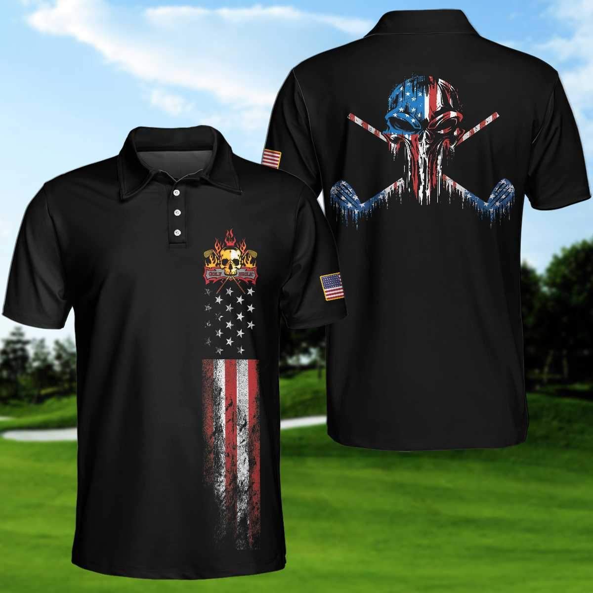 Golf Skull America Flag EZ20 0604 Polo Shirt