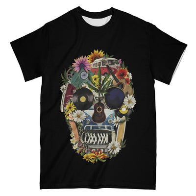 Hippie Skull Flowers Ver A EZ09 1004 All Over T-Shirt