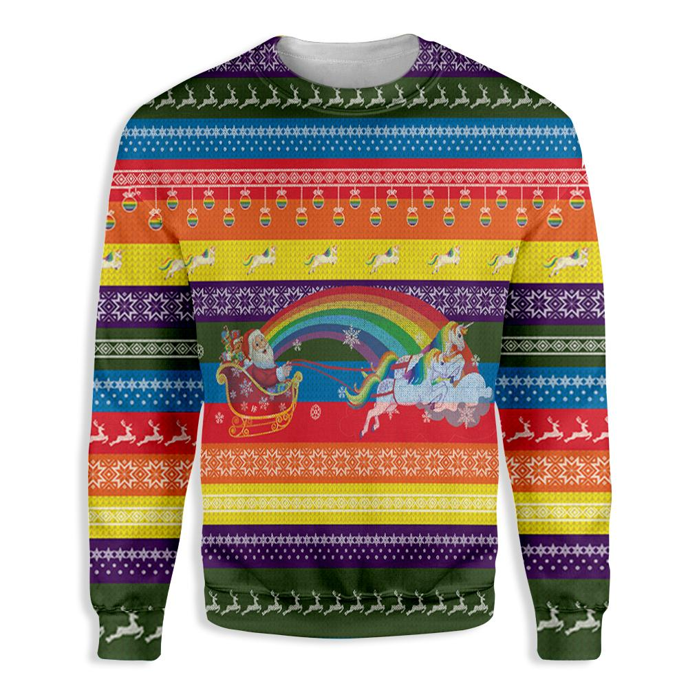 Ho Ho Ho Homo Unicorn Christmas Pride EZ05 2410 All Over Print Sweatshirt