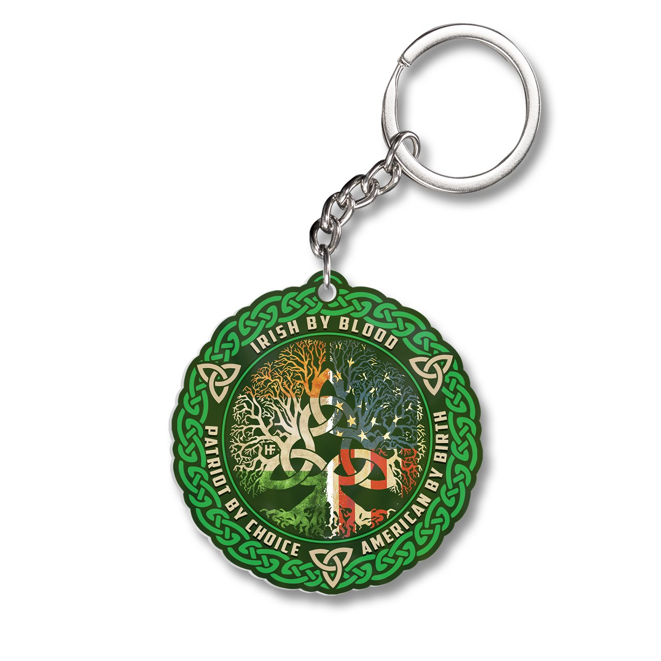 Irish By Blood American By Birth Shamrock Shape EZ12 1501 Keychain