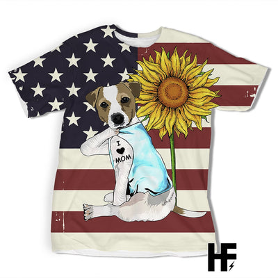Jack Russell Terrier I Love Mom American Flag Sunflower EZ07 1603 All Over T-Shirt