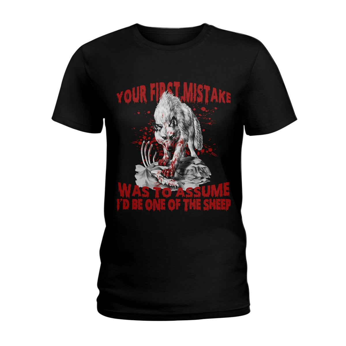 Your First Mistake White Wolf EZ02 2808 Ladies T-shirt