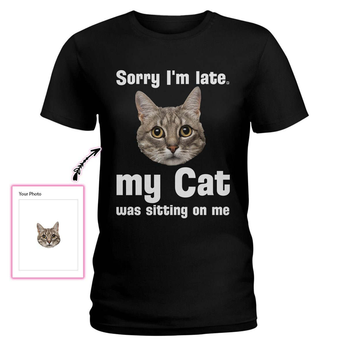 Sorry I'm Late, My Cat Was Sitting On Me EZ21 1611 Custom Ladies T-shirt