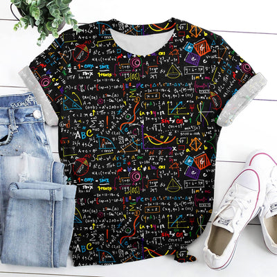 Math Teacher Seamless Pattern EZ14 2608 All Over T-Shirt