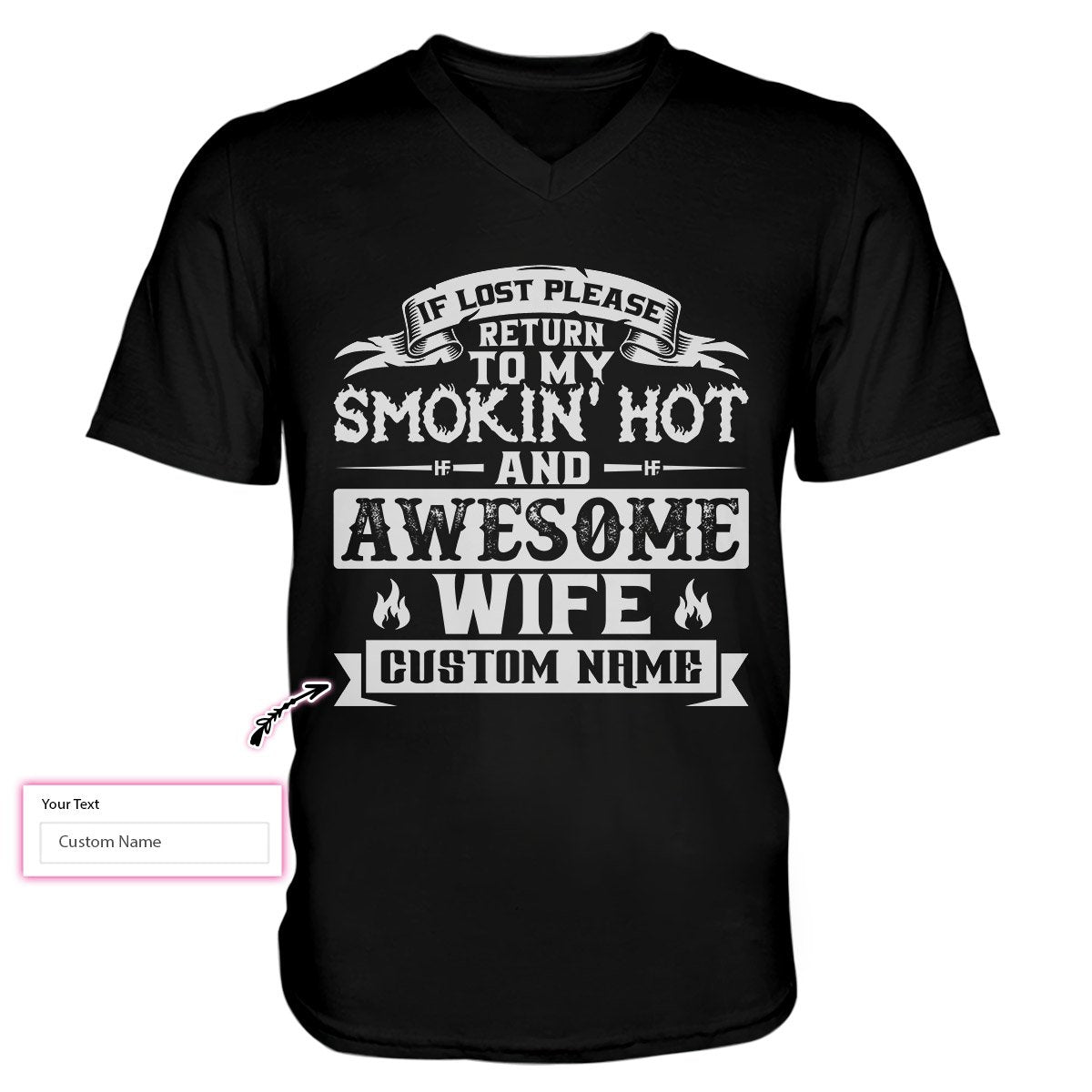 If Lost Please Return To My Smokin' Hot And Awesome Wife EZ21 1311 Custom Men V-neck T-shirt
