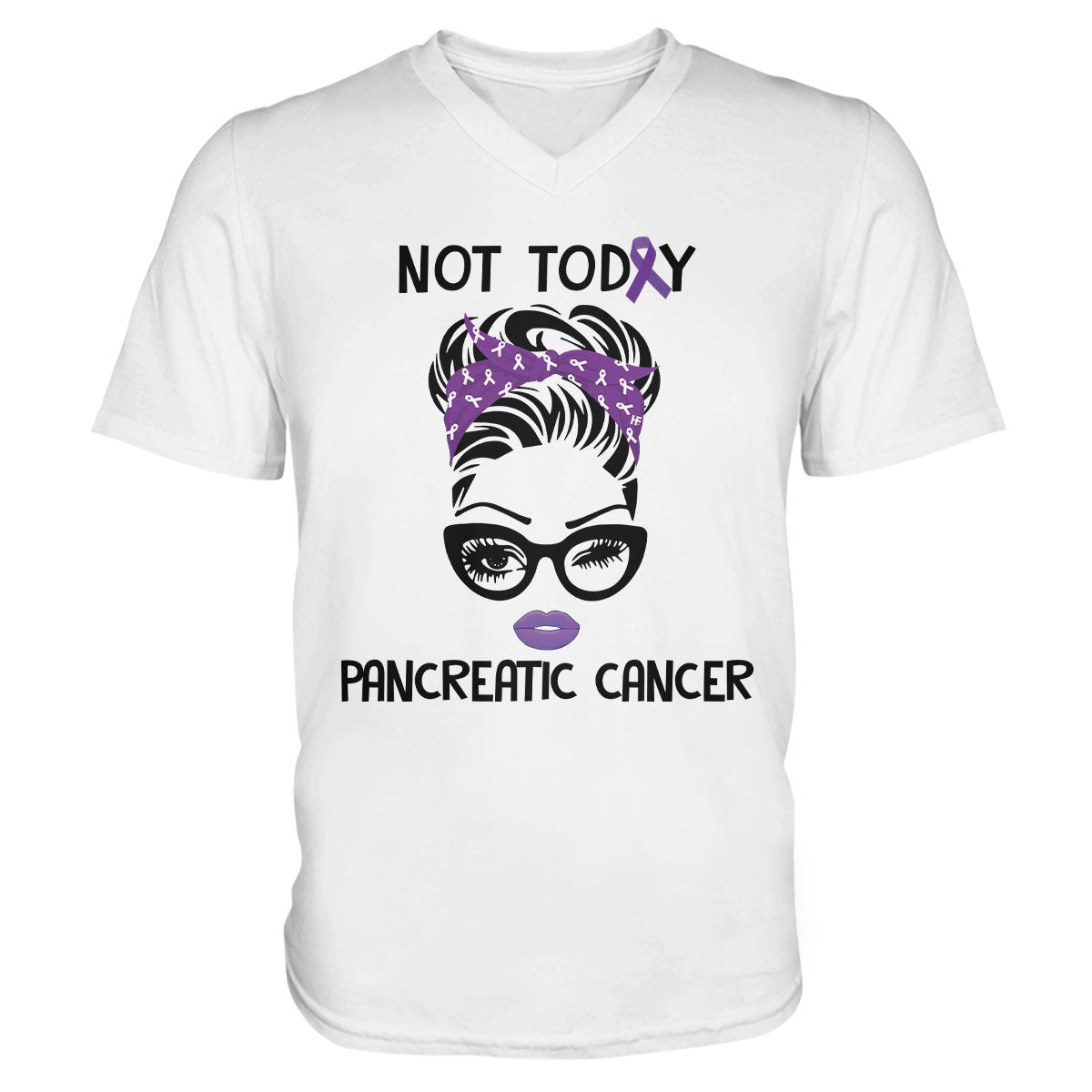 Not Today Pancreatic Cancer Awareness EZ24 2912 Men V-neck T-shirt