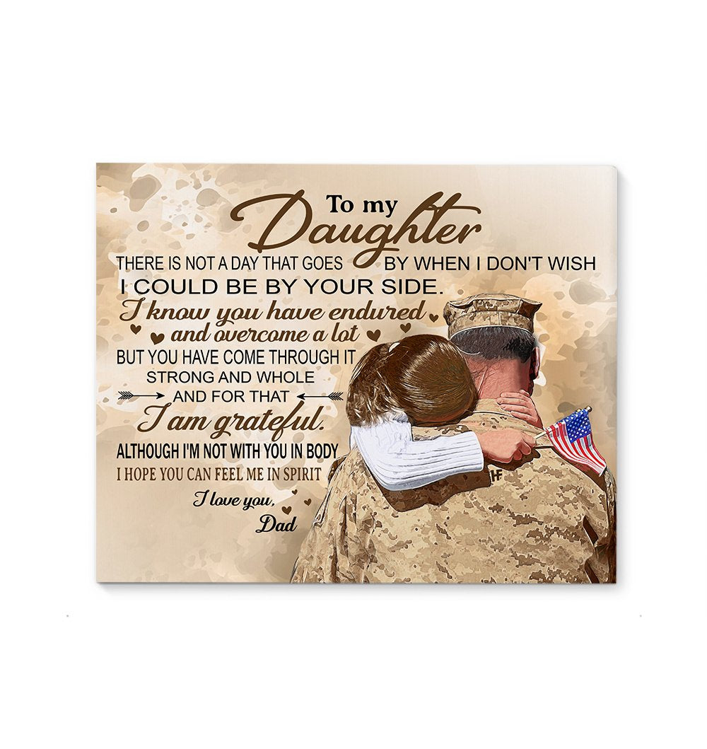 Military Man Hugging His Daughter EZ22 2901 Canvas