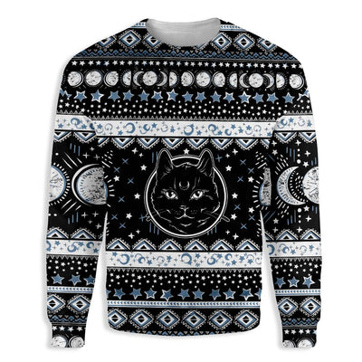 Moon Phase Cute Cat Wicca EZ19 1410 All Over Print Sweatshirt