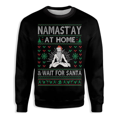 Namast'ay at home and wait for Santa Christmas Yoga EZ21 1510 All Over Print Sweatshirt