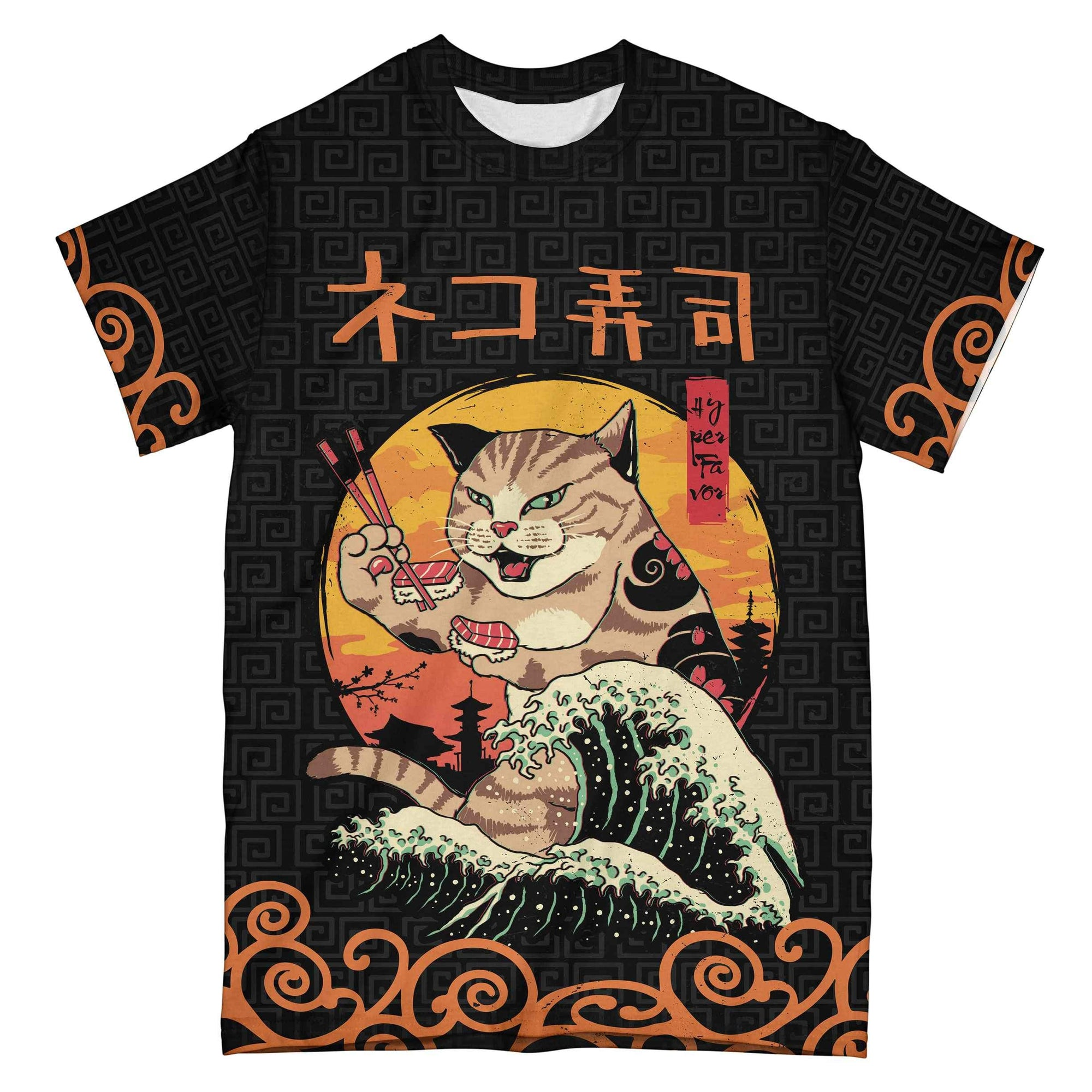 Neko Sushi Japanese Retro EZ07 2305 All Over T-shirt