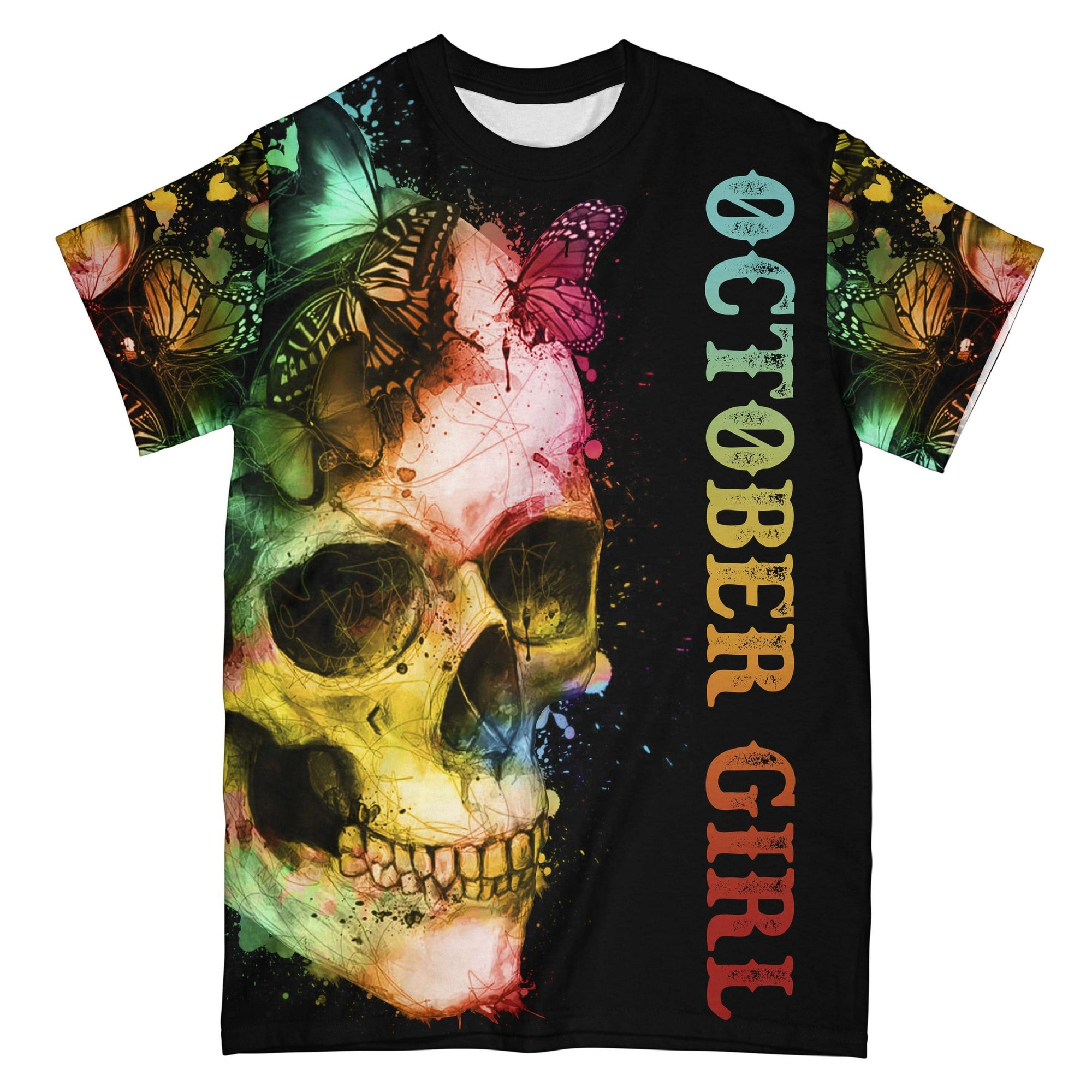 October Girl Butterfly Skull EZ08 2108 All Over T-shirt