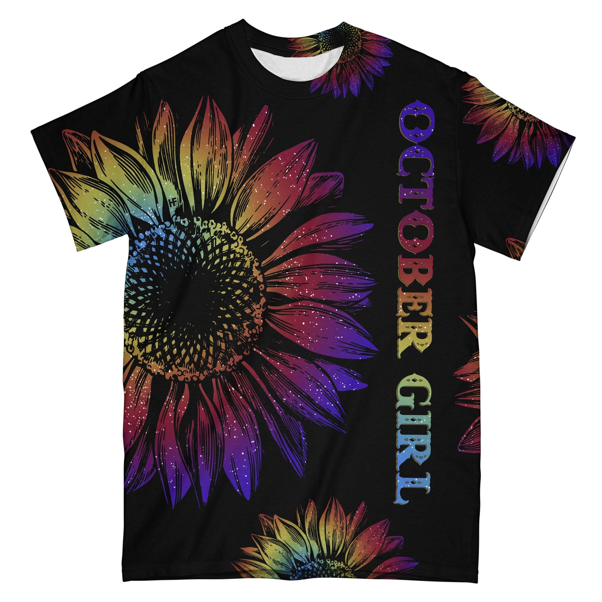 October Girl Tie Dye Sunflower EZ08 2608 All Over T-shirt
