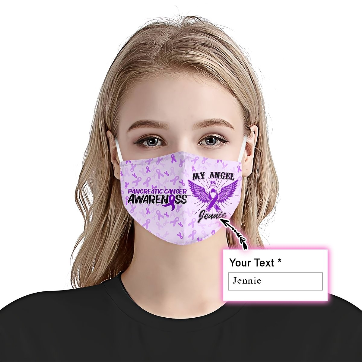 Pancreatic Cancer Awareness My Angel EZ10 2105 Custom Face Mask