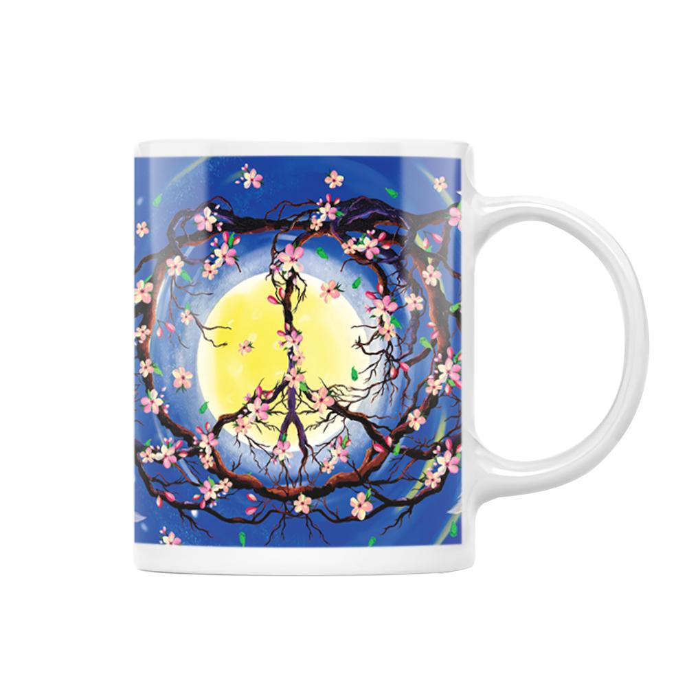 Peace Tree Feather Hippie EZ25 1512 White Mug
