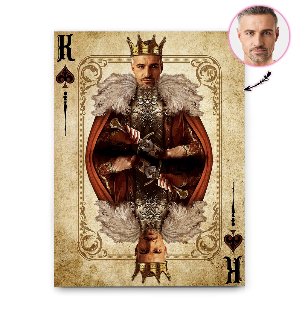 Personalized Face Vintage King Of Spades Card EZ30 2402 Custom Canvas